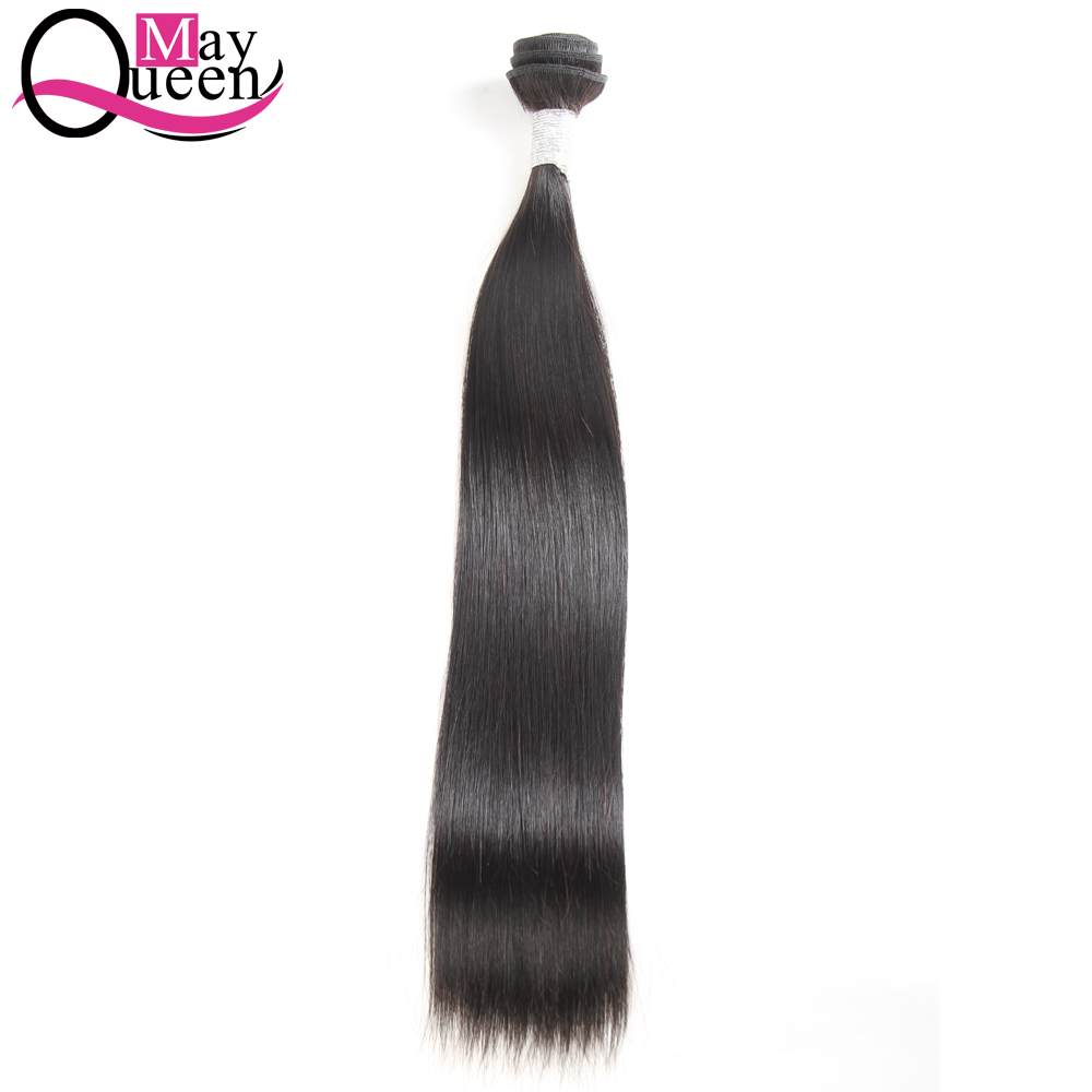 May Queen Hair Peruvian Straight Human Hair Weave Bundles Natural Black Color 1 Piece Non Remy Hair Extension Shipping Free