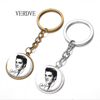 heat! Fashion Elvis Presley Crystal Round Pendant Women and Men Keychain 2018 image