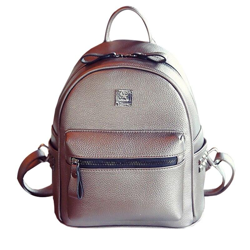 2017 Fashion Pu Leather Backpacks Teenage Girls Cheap Women Backpack School College Female