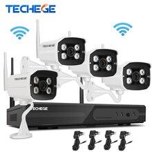 Techege 4CH 1080 P Беспроводной NVR Комплект Подключи и Играй Открытый IP66 Ночного Видения 2.0MP WI-FI Камеры Наблюдения Системы ВИДЕОНАБЛЮДЕНИЯ с 1 ТБ HDD