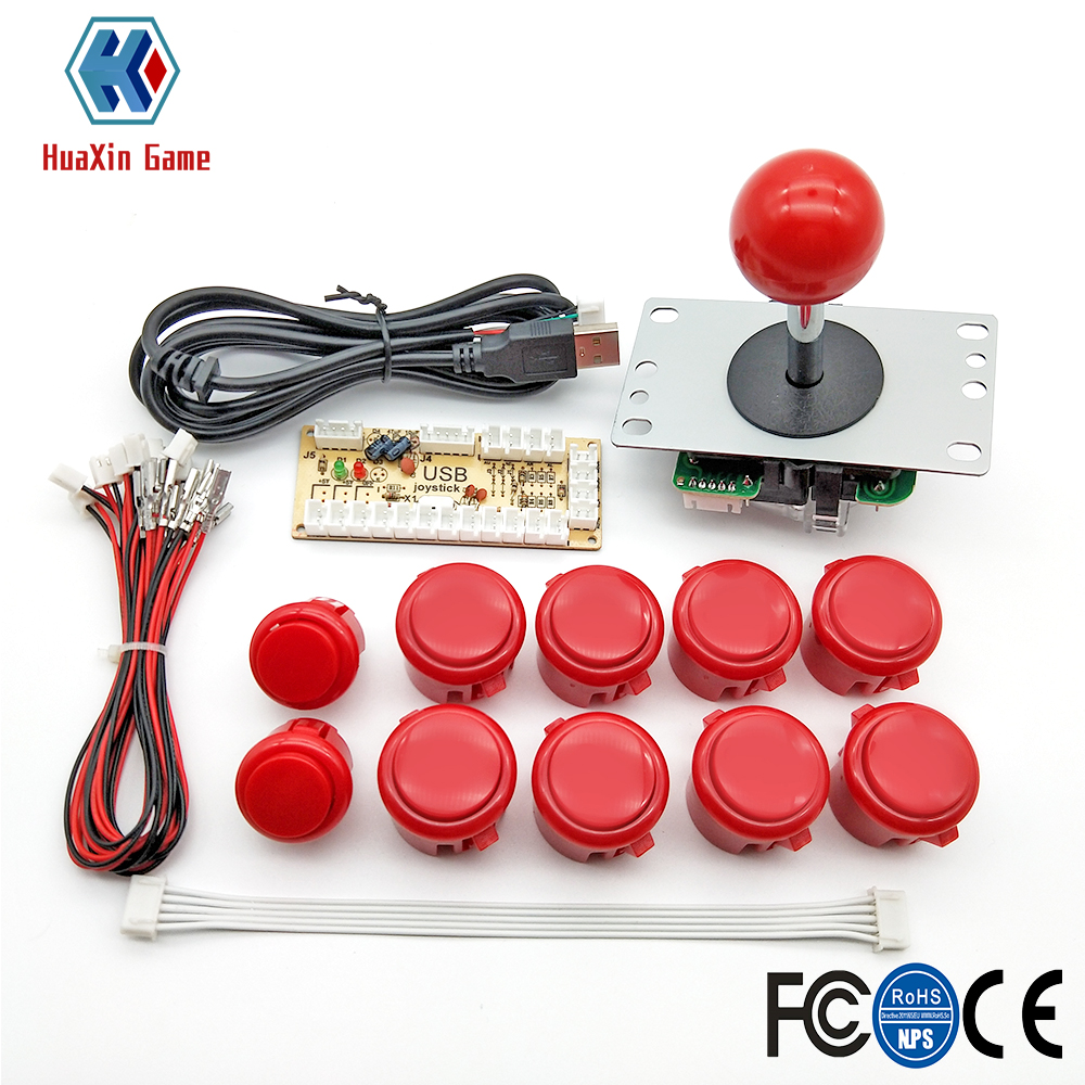 Arcade Game DIY Parts Kit For PC And Raspberry Pi 1/2/3 With Retro Pie 5Pin Joystick 8x 30MM And 2x 24MM Buttons Mame Kits Part