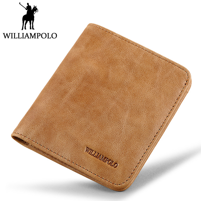 Williampolo Men Mini Wallet Genuine Leather Small Wallets Short Cow Skin Purse Male Slim Wallet Khaki Bifold For Man Friend Gift