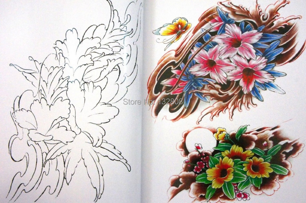 Rare Japanese Flower Tattoo Flash Book Lotus Cherry Blossoms W Line