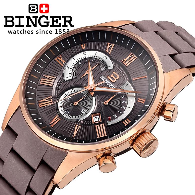 Switzerland Men's Watch Luxury Brand Wristwatches BINGER Quartz watch Silicone strap Chronograph Clock Diver glowwatch BG-0407-6