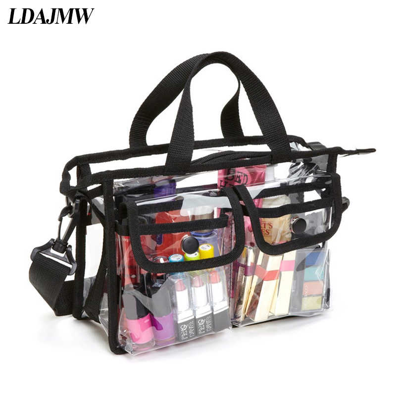 4136f970e11e LDAJMW PVC Transparent Toiletry Cosmetics Storage Bag Large Capacity Women  Makeup Tote Bag Travel Organizer Portable Beach Bag