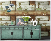 beibehang Vintage drawer box antique wood grain papel de parede wall paper clothing store industrial wind barber shop wallpaper