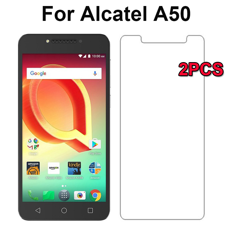 2PCS 9H Scratch proof Tempered Glass For Alcatel A50 Screen Protector Toughened protective film For Alcatel A50,Easy To Install