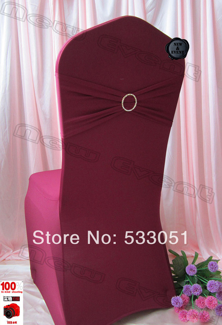 b4ab8063c738 210g m2 Burgundy Purple Spandex Chair Cover With Lycra Bands And Round  Shiny Gold Diamond