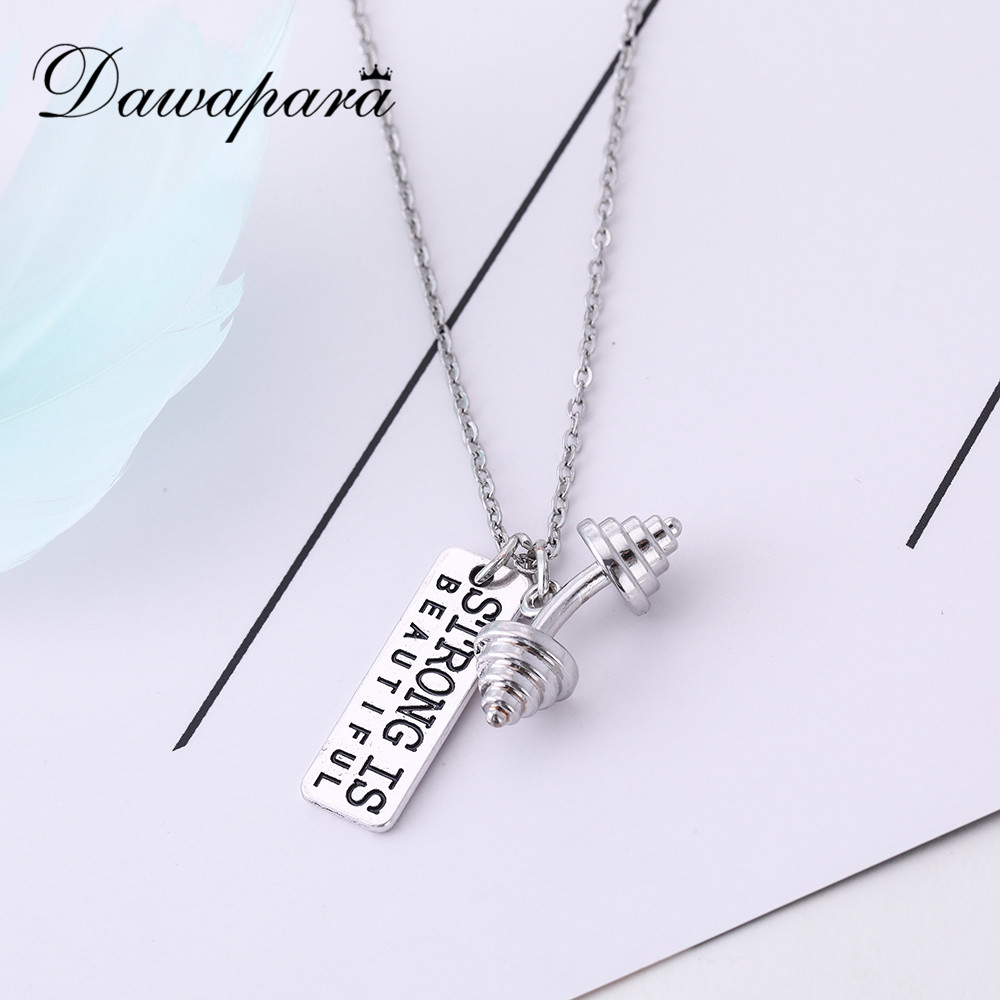 Dawapara 2019 New Dumbbell Charm Necklace For Athlete