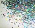 50 gram Holográfica Láser Color Plata Hexagonal Paillette de la Lentejuela Del Brillo Mix Forma de Brillo Del Arte Del Clavo Decoración Del Arte