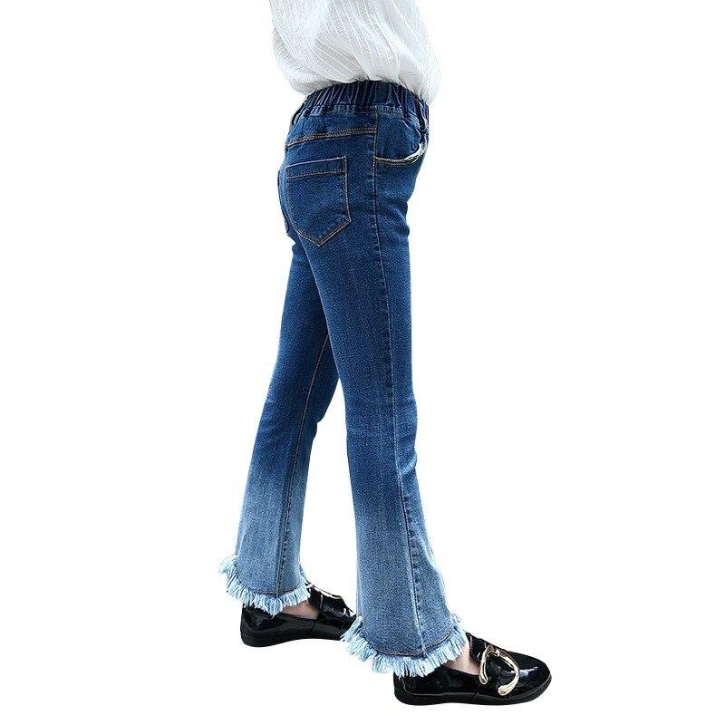 Девушки с Черной Бахромой 2018 весна новый ребенок узкие детские брюки для девочек градиент Цвет брюки летние штаны для девочек