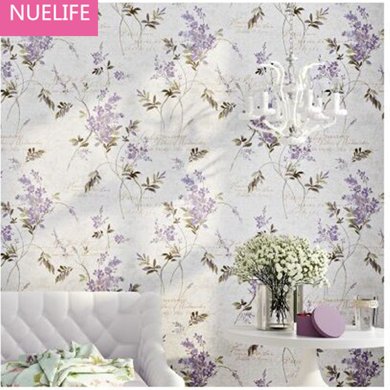 0.53x10m pastoral purple flower pattern non-woven wallpaper bedroom living room study room wedding room creative wallpaper N4
