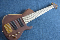 7 Strings Natural Wood Color Electric Bass Guitar,Maple Fingerboard,Offer Customized