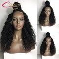 150% Плотность Влажную И Волнистое Человеческих Волос Full Lace Wig Indain реми Волос Бесклеевой Кружева Перед Парики Толщиной Вьющиеся Парик Человеческих Волос