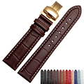 Correa correa de cuero genuino suave de cuero con oro mariposa hebilla desplegable 18mm 19mm 20mm 22mm reloj correa