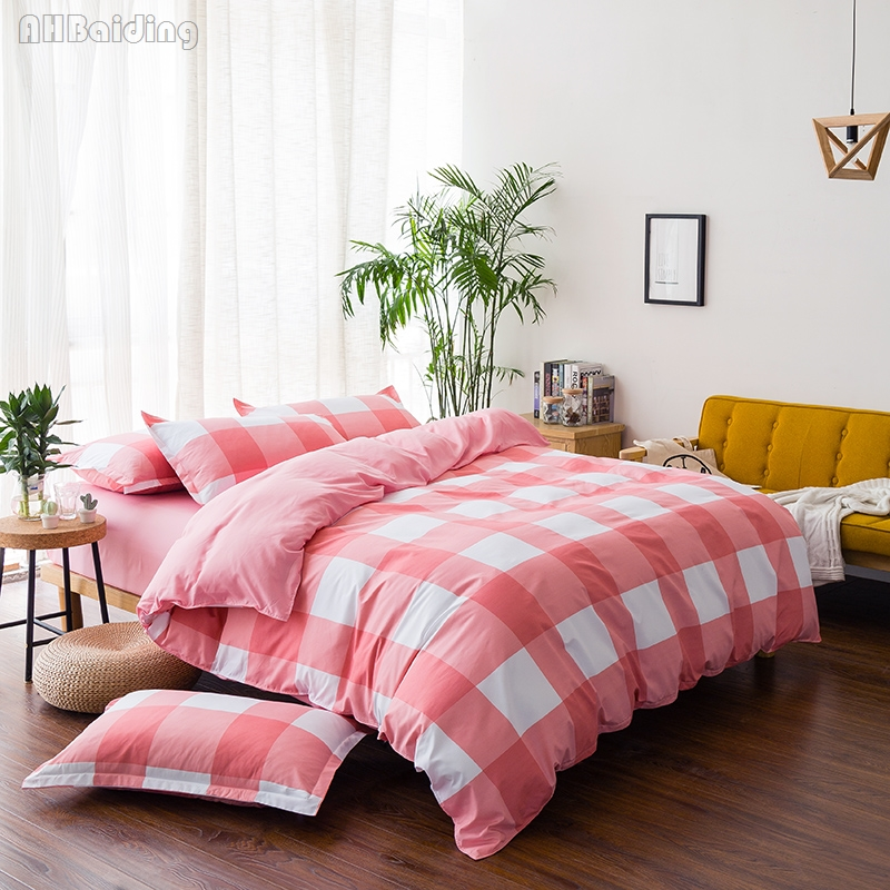 Hot Red Plaid Cotton Bedding Set 3/4pcs Bed Linen High Quality Duvet Cover Set for Adult Children Gift Twin Full Queen King Size