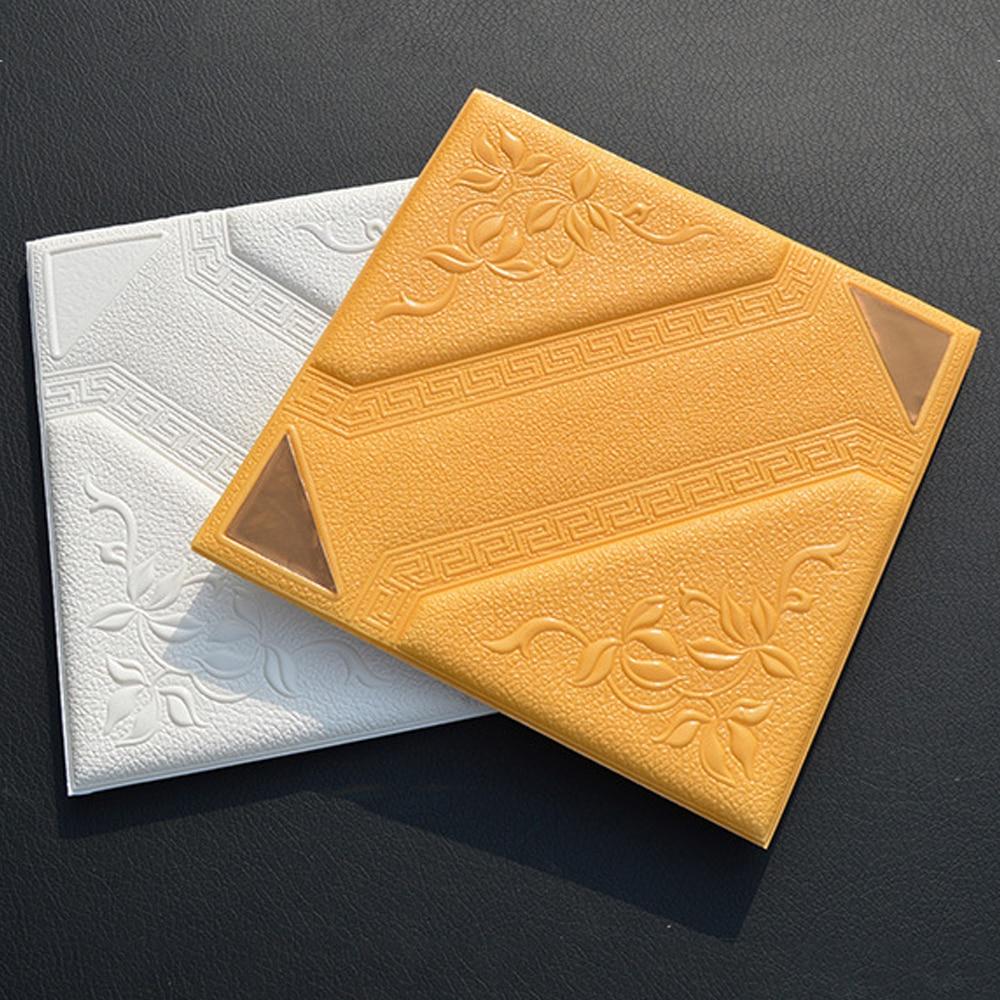 yazi 3D Leather Like Carved Mirror Wall Panels DIY Self adhesive PE ...
