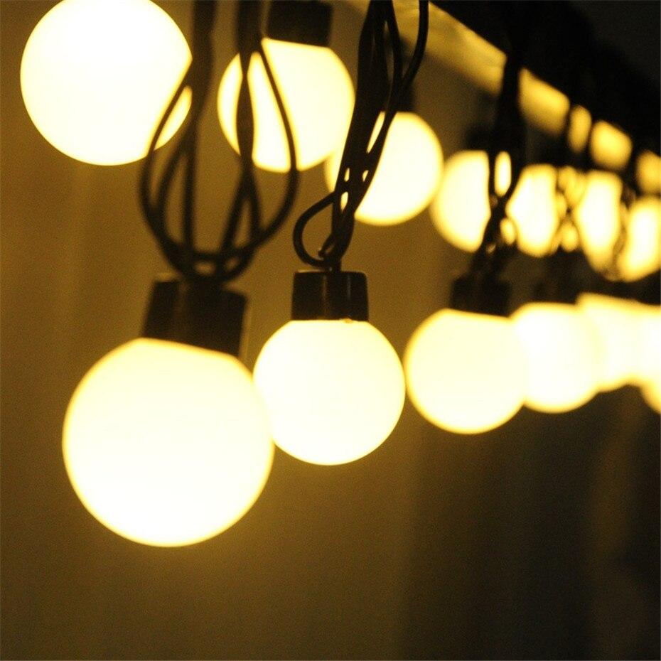 5M 20LEDs Christmas LED Globe String Lights Outdoor Fairy Lights Garland 5cm Big Ball Suit For Backyard Patio End To End Plug