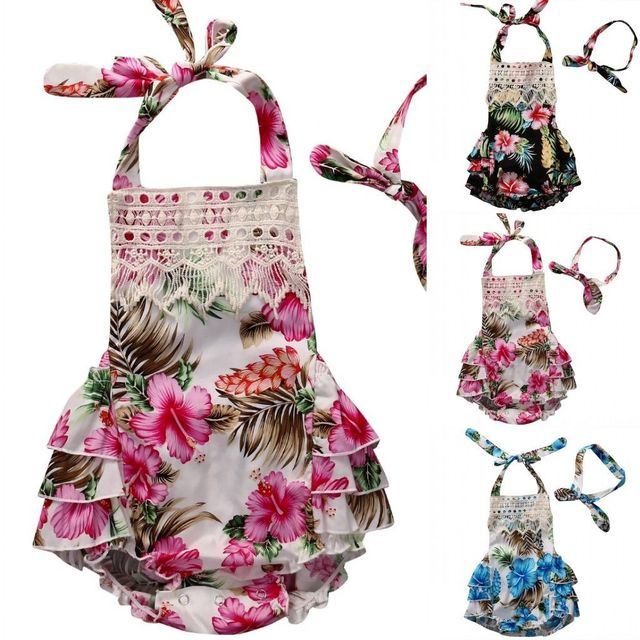 805430df5d2d Newborn Baby Girl Clothes Romper Floral Ruffle Dress Backless Lace Romper  Jumper Headband Outfit Set