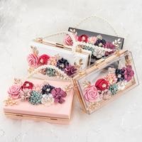 Women Luxury Evening Bags Wedding Party Pearl Flower Bride Handbag Crossbody Clear Hard Box Clutch Transparent Chain Bag