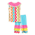 Hot Sale Girls Summer Clothes Chevron Stripes Sleeveless Top Casual Boutique Outfit Blue Ruffle Shorts Children Sets S052