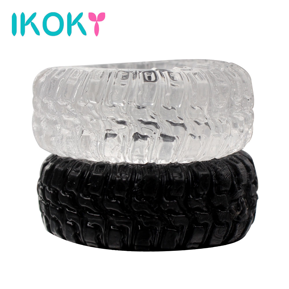IKOKY Penis Rings Sex Toys For Men Tire Type Black/Transparent Sex Cockring Delay Ejaculation Cock Rings 2Pcs/Set Silicone