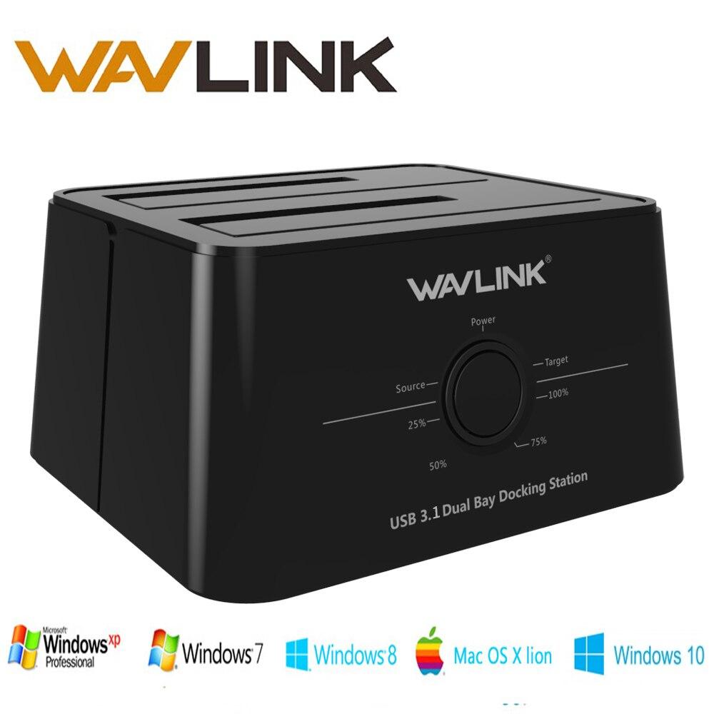 Wavlink USB 3.1 TypeC para SATA Dual Bay Docking Station 2.5/3.5 SSD HDD SATA 1/2/3 Gabinete De 2*8 TB com Clone Desligada de Backup