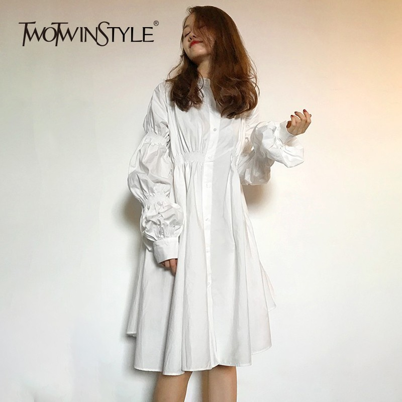 TWOTWINSTYLE Puff Sleeve Shirt Dress Women Ruched Oversized Casual Dress Female Casual Fashion Clothing Big Size Autumn 2019 New