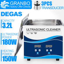 Granbo 3.2L 180W Digital Ultrasonic Cleaner Bath DEGAS Ultrasound Sonic Metal Parts Manicure tools Bicycle Chain