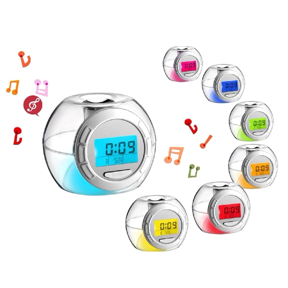 Cartoon Alarm Clock with 6 Natural Sounds Multi-function 7 Color Changing LED Light Color Glowing Change Digital Alarm Clock
