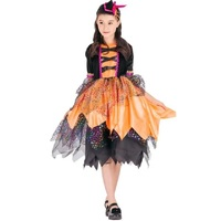 2017 Children Witch Dresses Lace Dresses Girls Magician Cosplay Uniforms Female Halloween Costumes For Kids