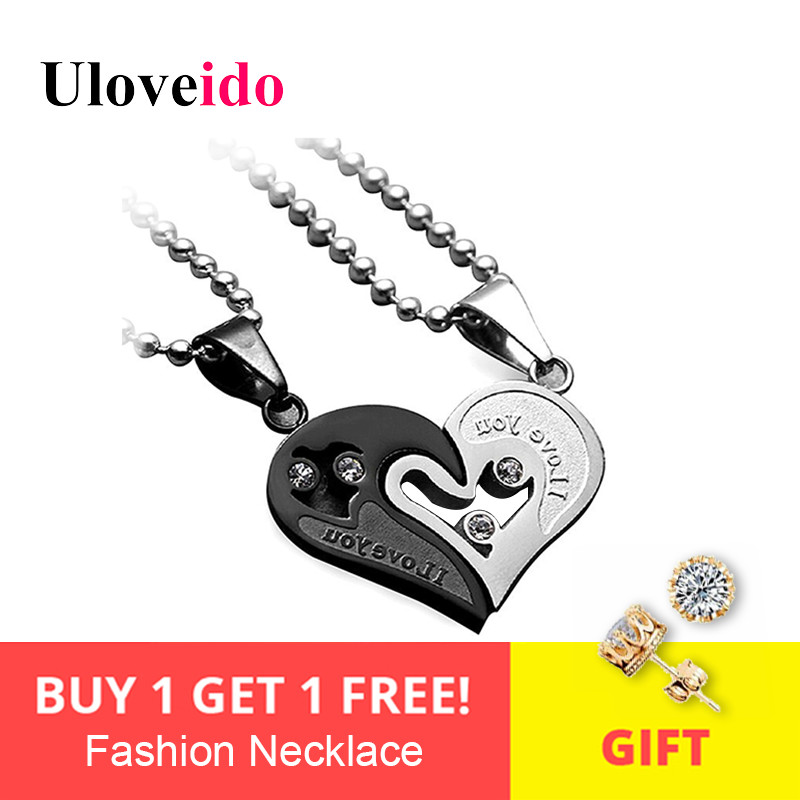 4d221025f2 Mens Stainless Steel Chain Black White Heart Love Necklaces for Couples  Paired Suspension Pendants for Men Women SN102 5%