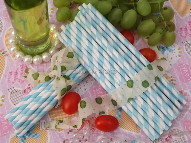 Hot Selling Light Blue Striped Paper Straws Drinking Party Wedding Holiday Birthday Favors Decoration Supplies
