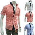 2014 New Brand Spring 3 Color Casual Mens Dress Shirts Slim Fit Short-sleeve Solid Color Social Camisa Masculina M-XXL
