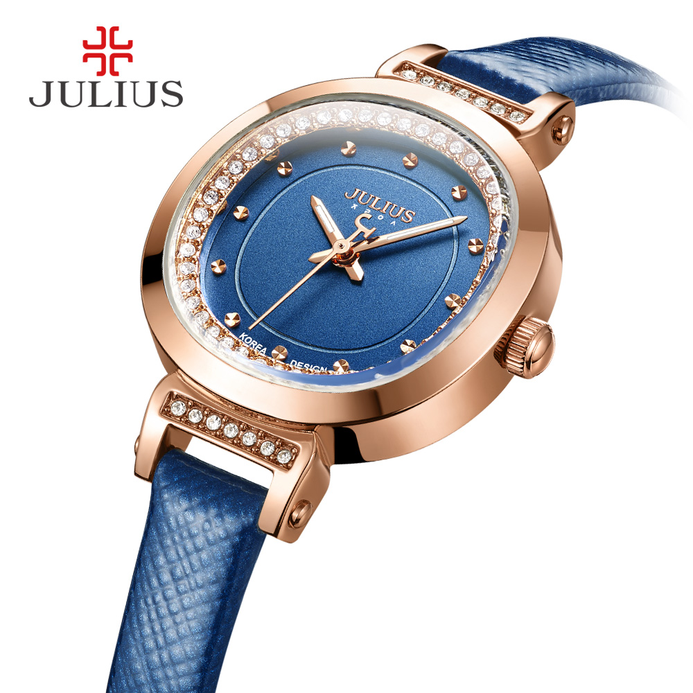 Women's Watch Japan Quartz Clock Hours Fine Fashion Dress Bracelet Leather Crystal Elegant Valentine Girl Gift Julius  843 size 33 43 new 2017 genuine leather womens shoes wedges pointed toe high heels women office & career shoes woman single shoes