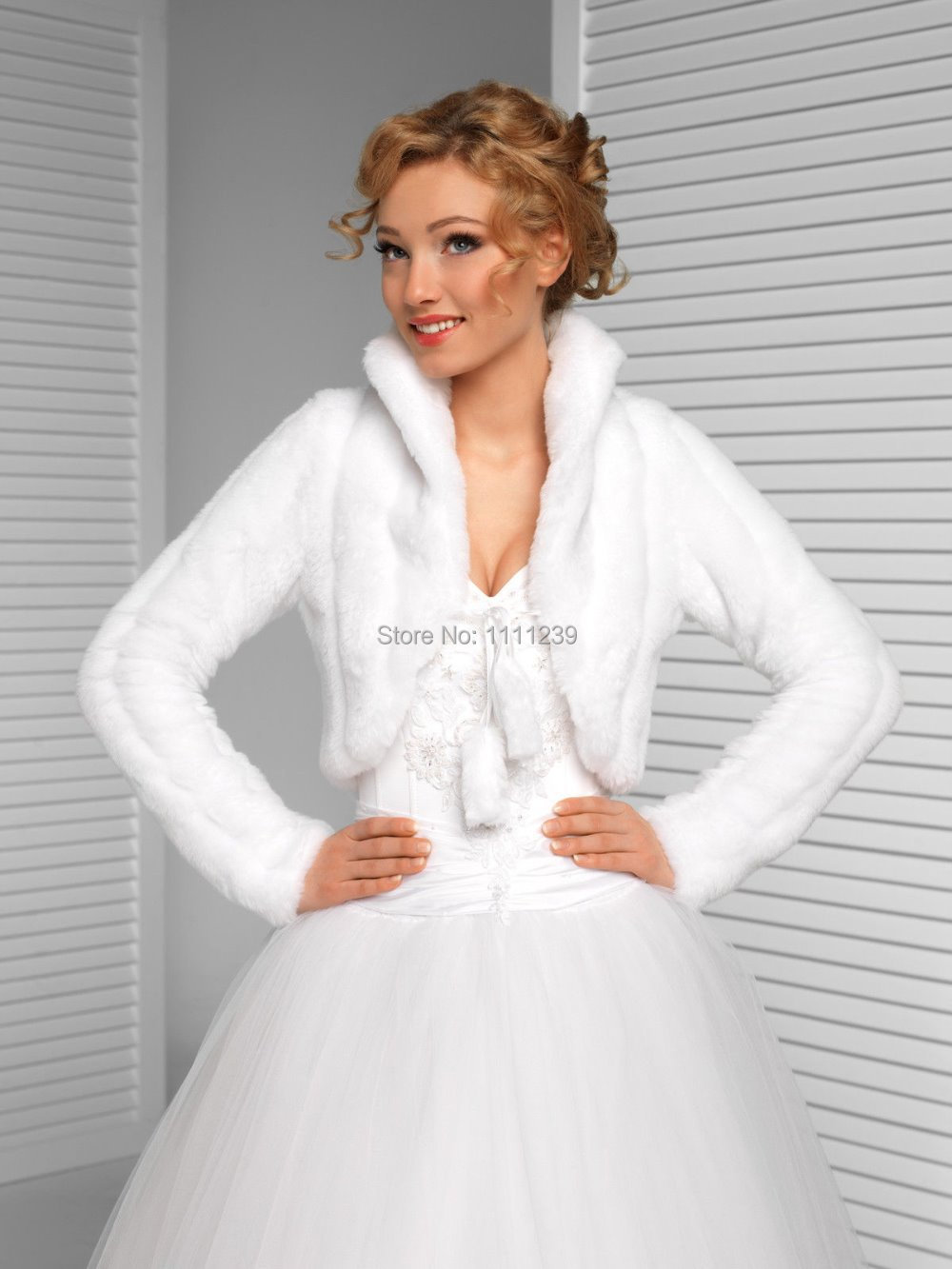 femmes haut de marie faux fourrure de vison bolro de marie manches longues veste ds0605 - Bolero Fourrure Mariage