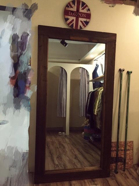 Retro americana madera tienda cuerpo espejo de cuerpo for Pared de espejo precio