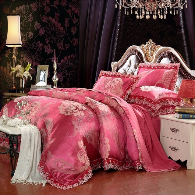 4Pcs Golden White Color Stain Luxury Bedding set King Queen size Royal Bed set Silk Cotton Duvet cover Bed sheet set pillowcase