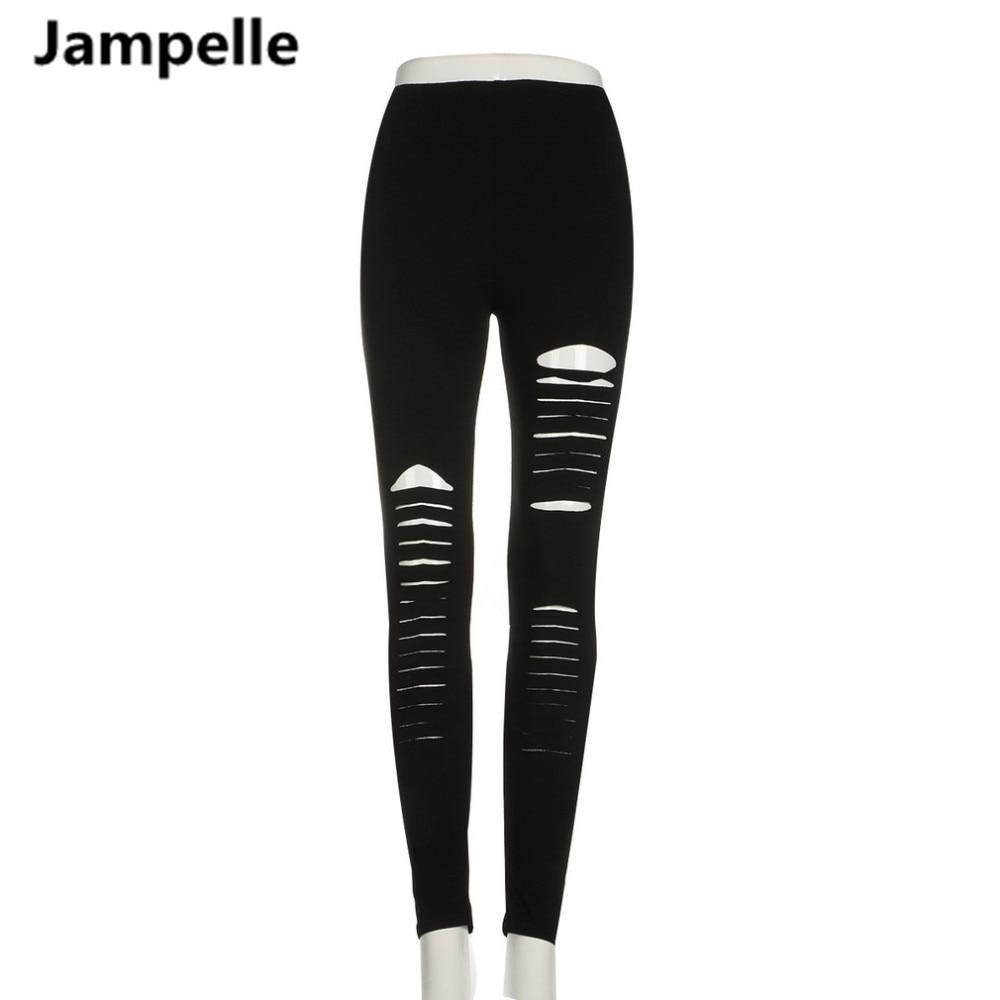 Neue 2018 Frauen Dünne Elastische Bleistift Jeans Leggings Jeggings Slim Stretchy Hosen Punk Rock Rippe Loch Weibliche Hosen Leggings
