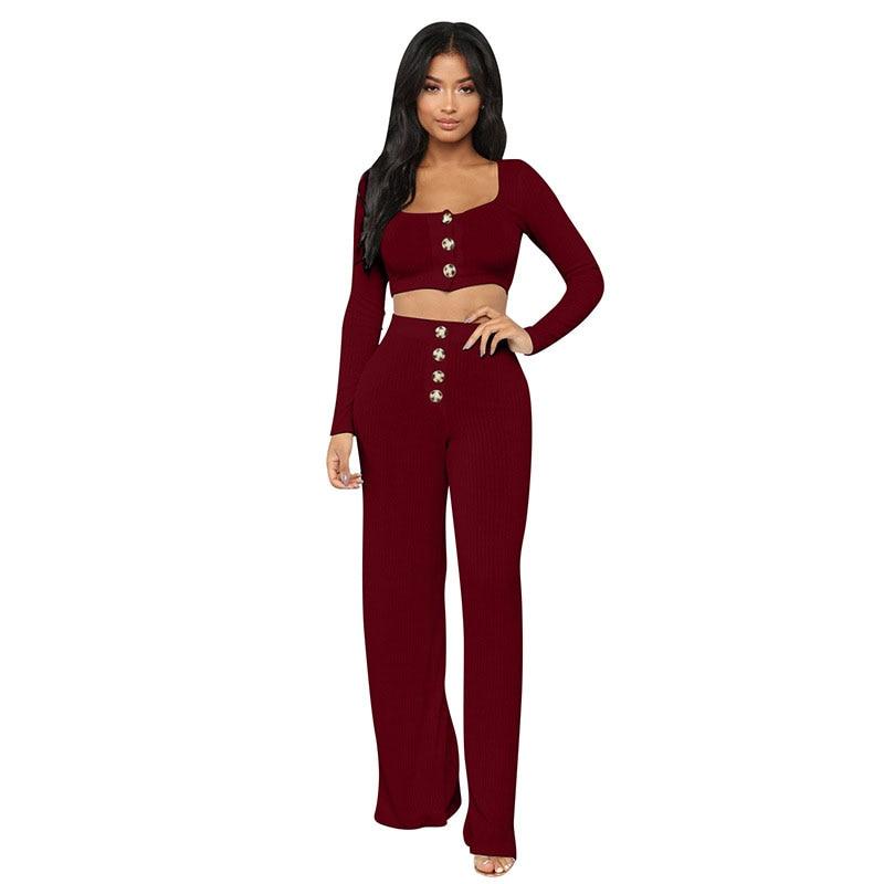 Ropa wine Casual Dos Y Top De Pieza Mujer Black Red Suelta Otoño Ancha Mujeres white Las 2019 Voobuyla Pierna Primavera Pantalones Piezas Crop x1TZTw