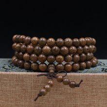 سوار بوذي 108 خرز لأغراض التأمل مسبحة سوار خشبي فريد للصلاة مطرز للنساء والرجال أساور محظوظ براكسيالي