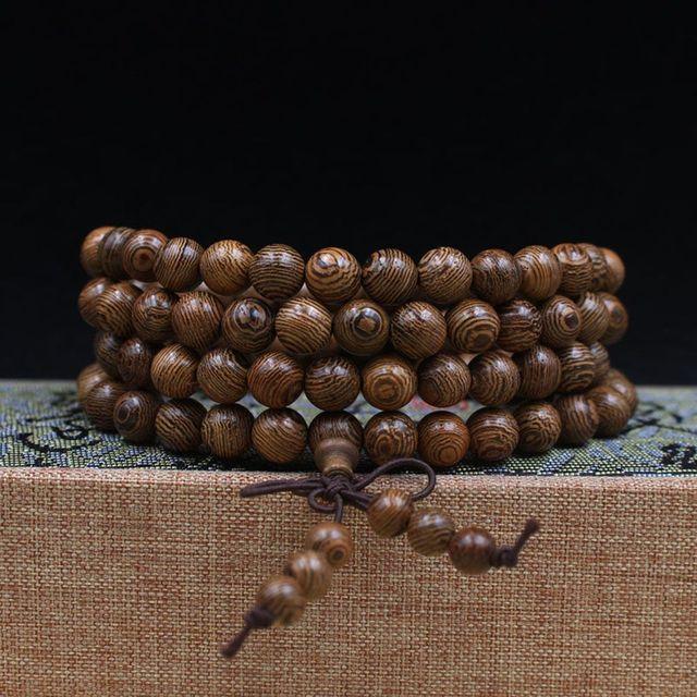 Buddhist 108 Beads Bracelet Meditation Rosary Bracelet Wooden Unique Prayer Beaded Women Men Lucky Bangles Bracciali