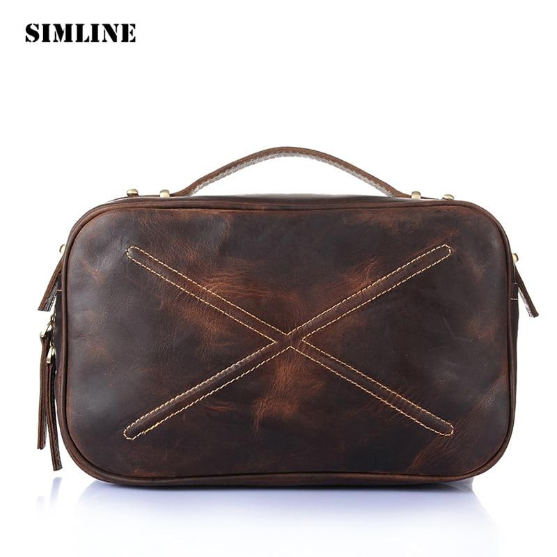 Фотография SIMLINE Vintage Retro Crazy Horese Genuine Cow Leather Women Female Tote Handbag Handbags Shoulder Crossbody Bag Bags For Ladies