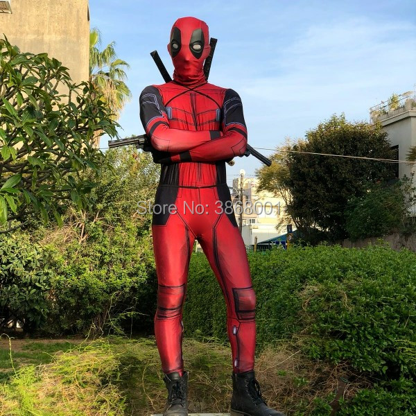 Deadpool Cosplay Costume Man Marvel Deadpool-Costumes Adult Wade Wilson Spandex Lycra Nylon Zentai bodysuit Second Skin Tight