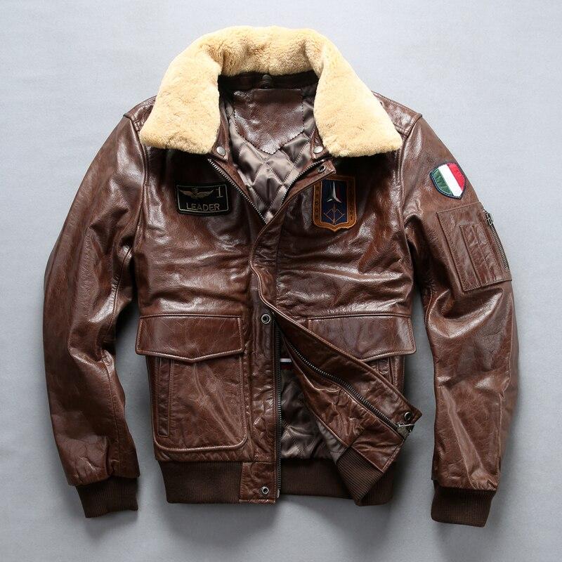 Leggere la Descrizione! Formato asiatico cuoio Genuino mans pelle bovina di volo in pelle A2 air force giacca pilota giacca di cuoio della mucca degli uomini