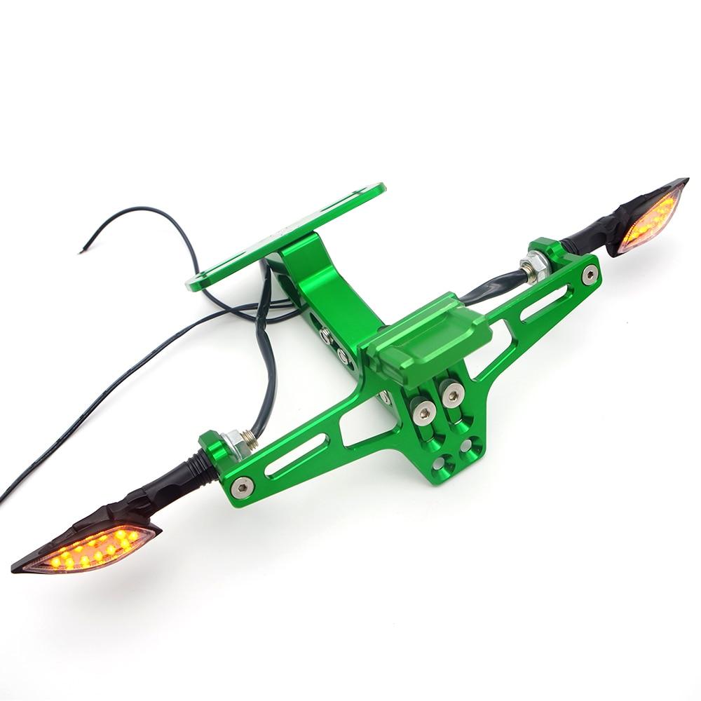 цена на Universal Motorcycle License Plate Holder Bracket with turn signal Lights FOR honda hornet 300 600 900 suzuki burgman 400 bajaj