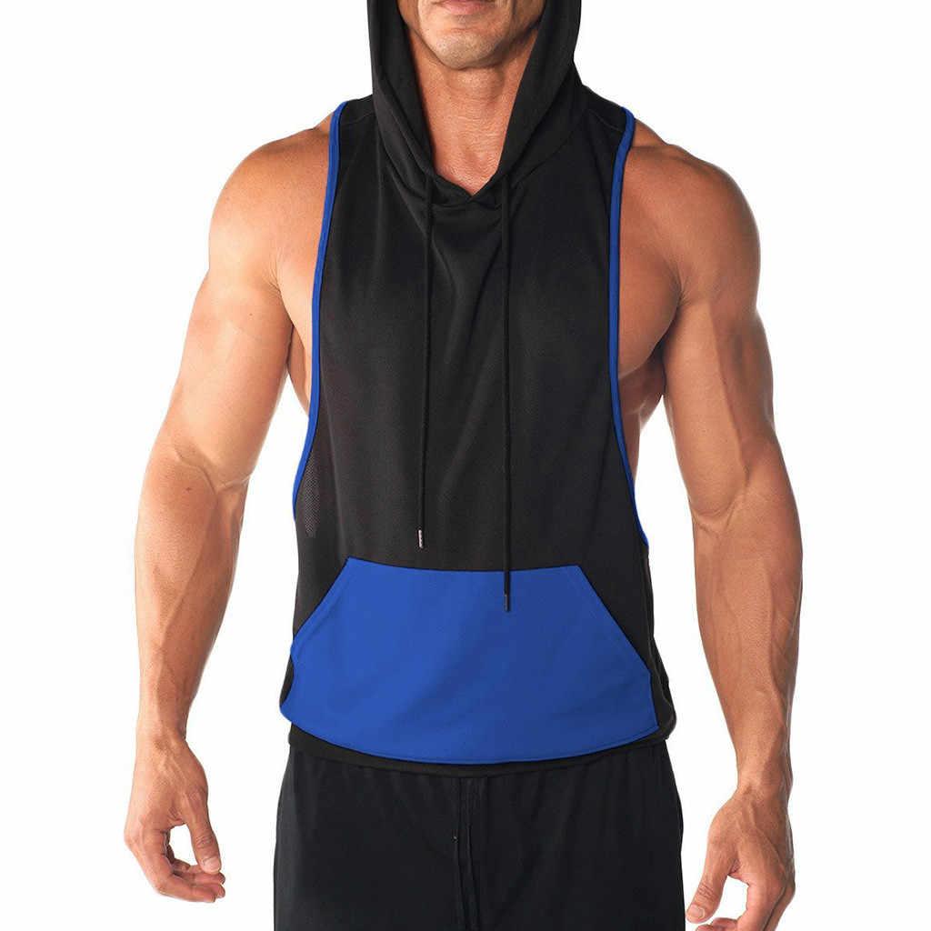 タンクトップジム服ボディービル男性のスポットベストジャケット軽量パッチワークノースリーブコントラストパーカー