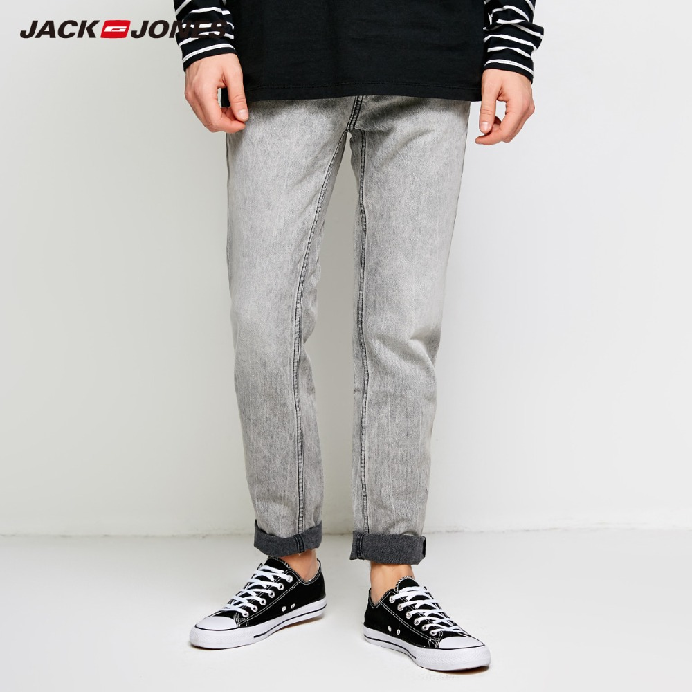 JackJones Men's Winter Fading Zipped Jeans Biker Pants Fashion Classical Denim Jeans Men Slim Male Jeans J|218332545