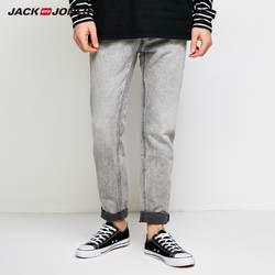 JackJones Для мужчин зимние потертостями джинсы на молнии стрейч байкер Брюки Модные Классические мужские джинсы из денима узкие мужские