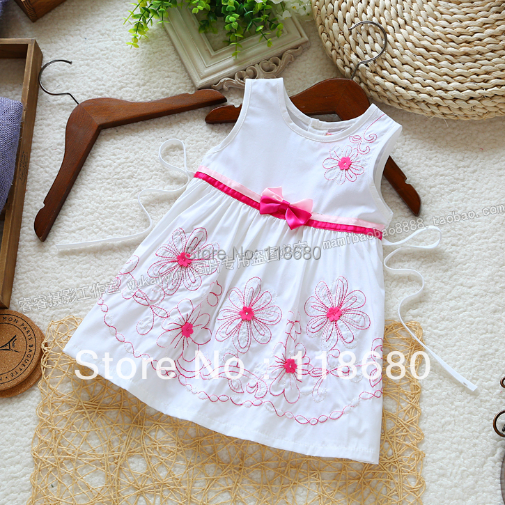 new 2014 summer dress baby & kids clothes baby girls tank casual dress kids beautiful bow flowers dresses white princess dress 6 size new 2014 summer baby